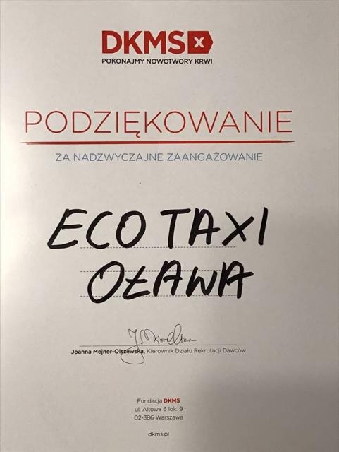 DKMS - podziękowania dla ECO TAXI Oława