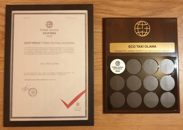 Certyfikat firma godna zaufania dla Eco Taxi Oława