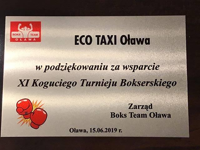 BOKS TEAM OŁAWA - Podziękowania dla EKO TAXI Oława