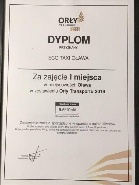 ORŁY Transportu - dyplom dla ECO TAXI Oława